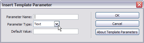 Insert Template Parameters dialog
